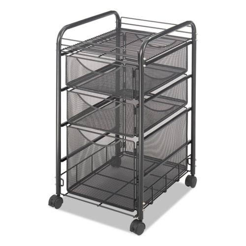 Onyx Mesh Mobile File With Two Supply Drawers, 15.75w x 17d x 27h, Black. Picture 3