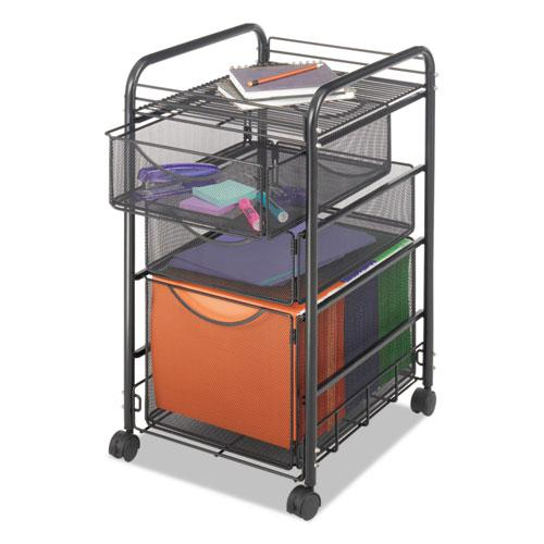 Onyx Mesh Mobile File With Two Supply Drawers, 15.75w x 17d x 27h, Black. Picture 1