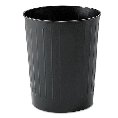 Round Wastebasket, Steel, 23.5 qt, Black. Picture 1