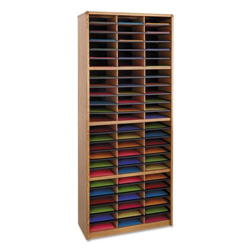 Steel/Fiberboard Literature Sorter, 72 Sections, 32 1/4 x 13 1/2 x 75, Med Oak. Picture 1