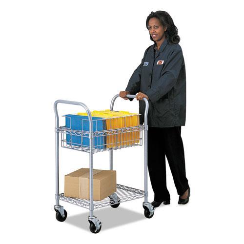 Wire Mail Cart, 600-lb Capacity, 18.75w x 26.75d x 38.5h, Metallic Gray