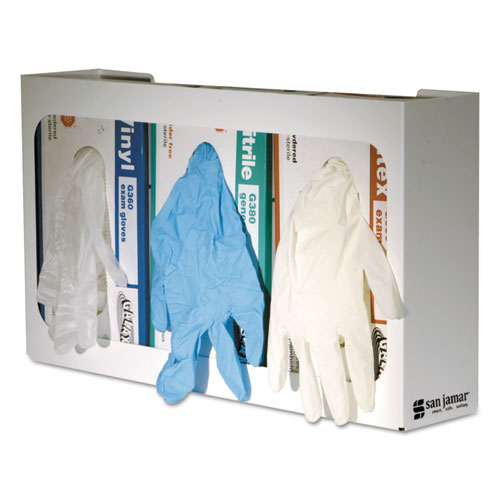 White Enamel Disposable Glove Dispenser, Three-Box, 18w x 3 3/4d x 10h. Picture 1