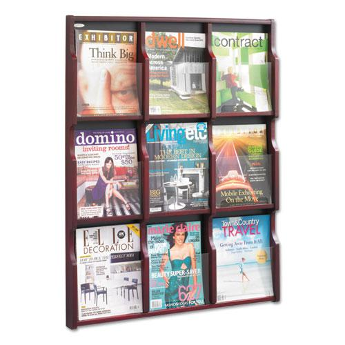 Expose Adjustable Magazine/Pamphlet 9 Pocket Display, 29.75w x 2.5d x 38.25h, Mahogany. Picture 3