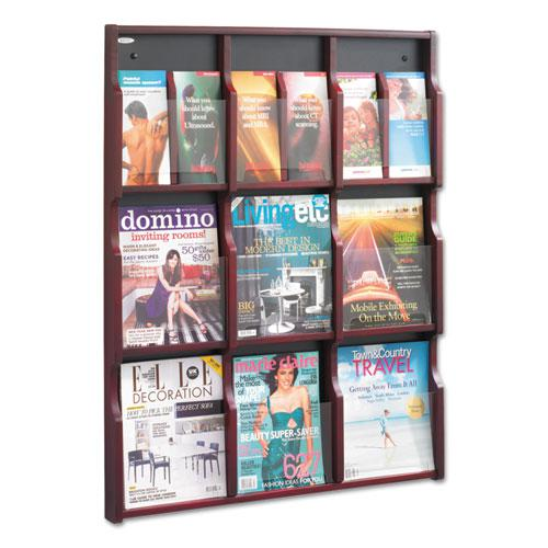 Expose Adjustable Magazine/Pamphlet 9 Pocket Display, 29.75w x 2.5d x 38.25h, Mahogany. Picture 1
