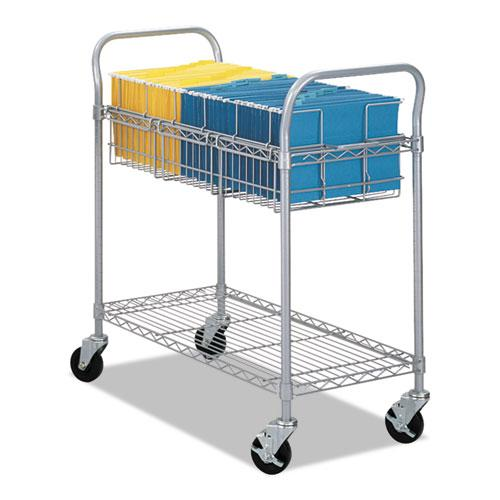 Wire Mail Cart, 600-lb Capacity, 18.75w x 39d x 38.5h, Metallic Gray. Picture 1