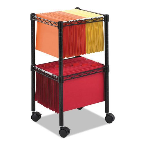 Two-Tier Compact Mobile Wire File Cart, Steel, 15.5w x 14d x 27.5h, Black. Picture 1