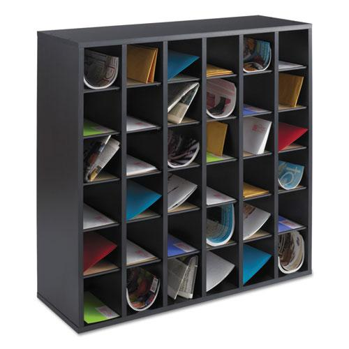 Wood Mail Sorter with Adjustable Dividers, Stackable, 36 Compartments, Black. Picture 1