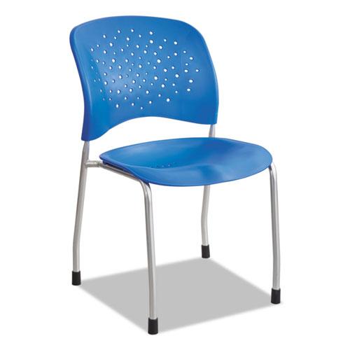 Rêve Series Guest Chair W/ Straight Legs, Lapis Plastic, Silver Steel, 2/Carton. Picture 1