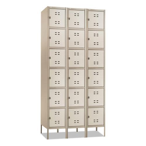 Three-Column Box Locker, 36w x 18d x 78h, Two-Tone Tan. Picture 1