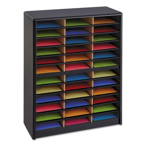 Steel/Fiberboard Literature Sorter, 36 Sections, 32 1/4 x 13 1/2 x 38, Black. Picture 1
