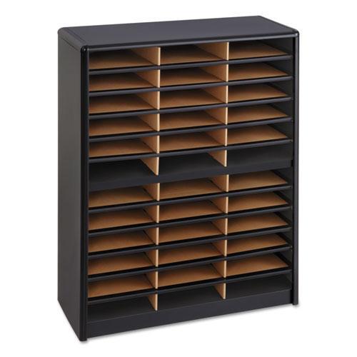 Steel/Fiberboard Literature Sorter, 36 Sections, 32 1/4 x 13 1/2 x 38, Black. Picture 4