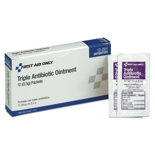 First Aid Kit Refill Triple Antibiotic Ointment, 12/Box. Picture 1