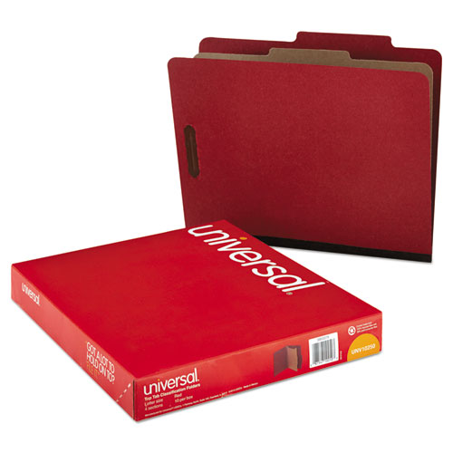 Four-Section Pressboard Classification Folders, 1 Divider, Letter Size, Red, 10/Box. Picture 4