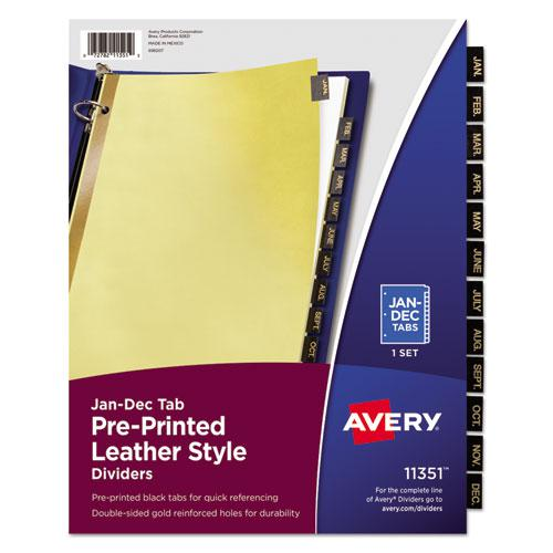 Preprinted Black Leather Tab Dividers w/Gold Reinforced Edge, 12-Tab, Ltr. Picture 1