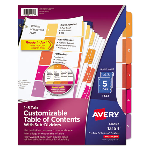 Ready Index Table Of Contents Dividers Wmulticolor Tabs 5 Tab Letter