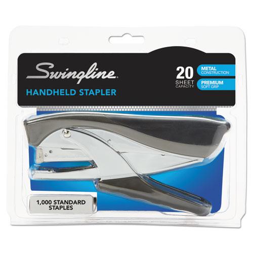 Premium Hand Stapler, 20-Sheet Capacity, Black. Picture 6