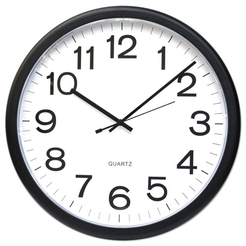 """Round Wall Clock, 13.5"""" Overall Diameter, Black Case, 1 AA (sold separately). Picture 1"""