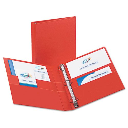 "Heavy-Duty Non-View Binder with DuraHinge and One Touch EZD Rings, 3 Rings, 1"" Capacity, 11 x 8.5, Red. Picture 2"
