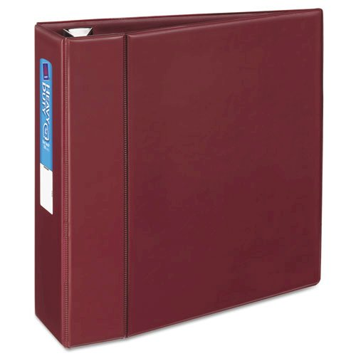 """Heavy-Duty Non-View Binder with DuraHinge and Locking One Touch EZD Rings, 3 Rings, 4"""" Capacity, 11 x 8.5, Maroon. Picture 6"""