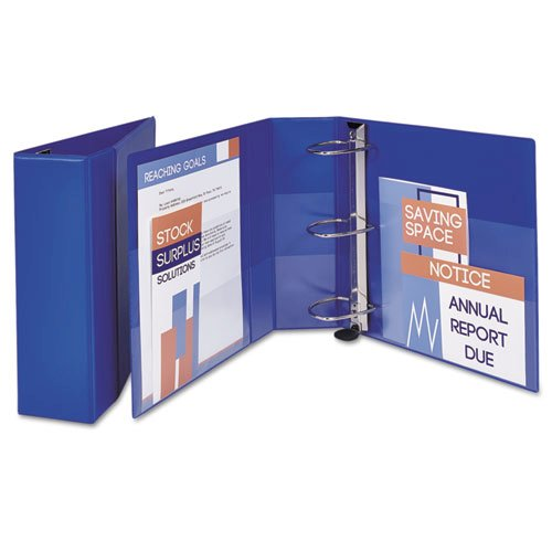 """Heavy-Duty Non-View Binder with DuraHinge and Locking One Touch EZD Rings, 3 Rings, 4"""" Capacity, 11 x 8.5, Blue. Picture 2"""