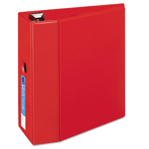 """Heavy-Duty Non-View Binder with DuraHinge, Locking One Touch EZD Rings and Thumb Notch, 3 Rings, 5"""" Capacity, 11 x 8.5, Red. Picture 1"""