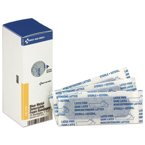 Metal Detectable Adhesive Bandages, Foam, Blue, 1 x 3, 25/Box. Picture 1