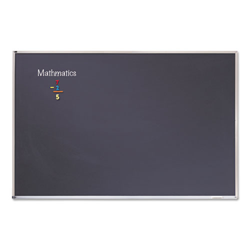 Porcelain Black Chalkboard with Aluminum Frame, 48 x 96, Silver. Picture 1