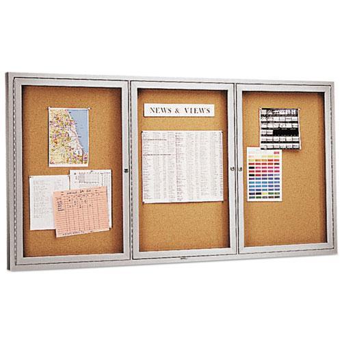 Enclosed Bulletin Board, Natural Cork/Fiberboard, 72 x 36, Silver Aluminum Frame. Picture 2