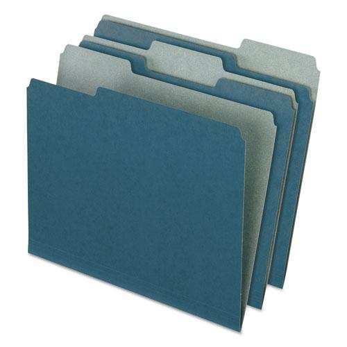 Earthwise by 100% Recycled Colored File Folders, 1/3-Cut Tabs, Letter Size, Blue, 100/Box. Picture 1