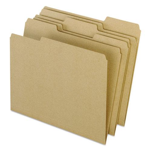 Earthwise by 100% Recycled Colored File Folders, 1/3-Cut Tabs, Letter Size, Natural, 100/Box. Picture 1
