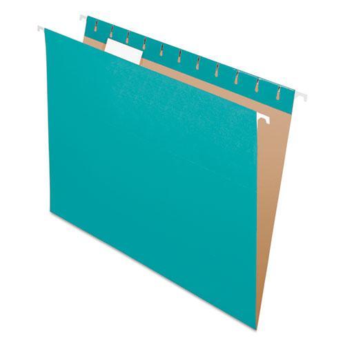Colored Hanging Folders, Letter Size, 1/5-Cut Tab, Aqua, 25/Box. Picture 1