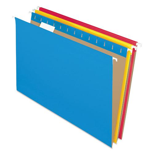 Colored Hanging Folders, Legal Size, 1/5-Cut Tab, Assorted, 25/Box. Picture 1