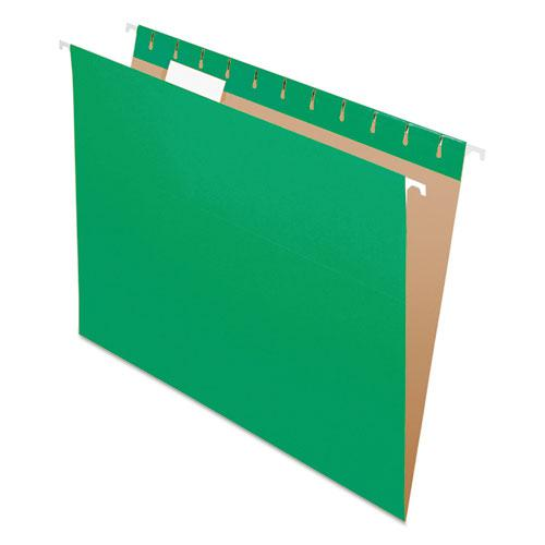 Colored Hanging Folders, Letter Size, 1/5-Cut Tab, Bright Green, 25/Box. Picture 1