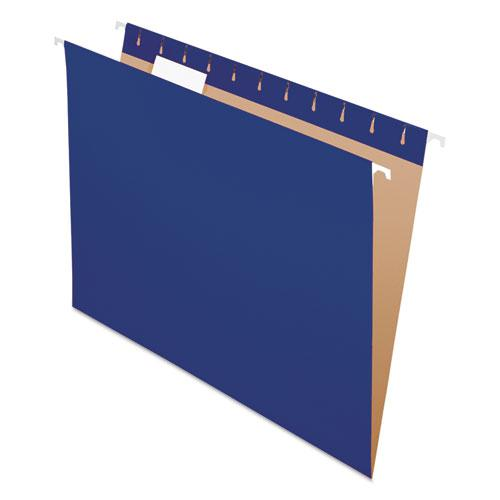 Colored Hanging Folders, Letter Size, 1/5-Cut Tab, Navy, 25/Box. Picture 1