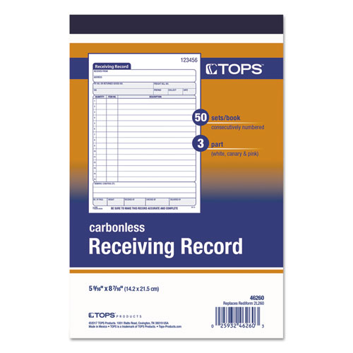 Receiving Record Book, 5 9/16 x 7 15/16, Three-Part Carbonless, 50 Sets/Book. Picture 2