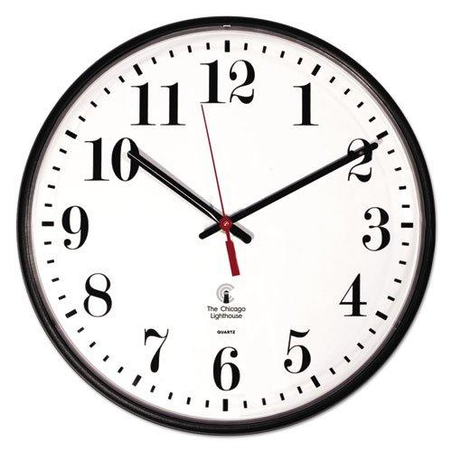 """Quartz Slimline Clock, 12.75"""" Overall Diameter, Black Case, 1 AA (sold separately). Picture 1"""