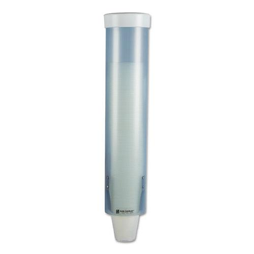 Adjustable Frosted Water Cup Dispenser, Wall Mounted, Blue. Picture 1