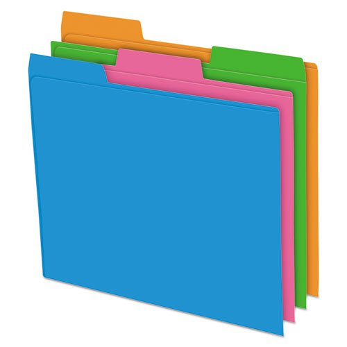 Glow Poly File Folders, 1/3-Cut Tabs, Letter Size, Assorted, 12/Pack. Picture 1