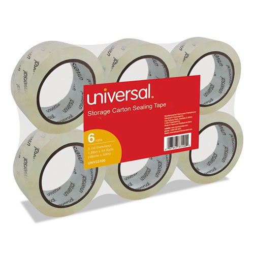"""Heavy-Duty Acrylic Box Sealing Tape, 3"""" Core, 1.88"""" x 54.6 yds, Clear, 6/Pack. Picture 1"""