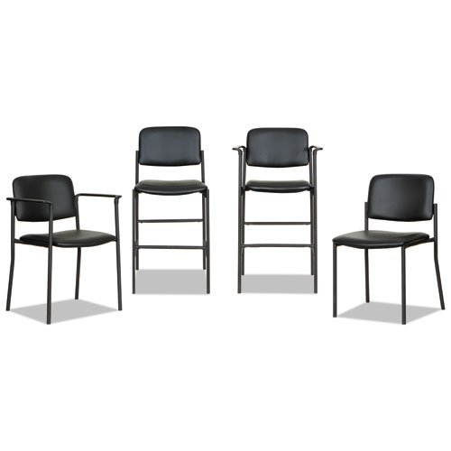 Alera Sorrento Series Stool, Supports up to 300 lbs, Black Seat/Black Back, Black Base, 2/Carton. Picture 6