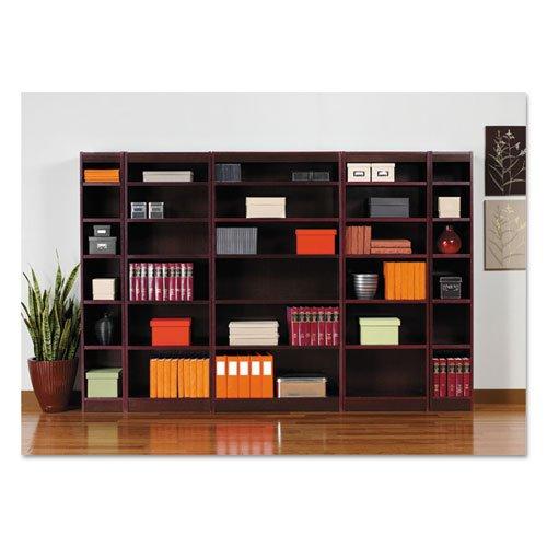 """Square Corner Wood Veneer Bookcase, Six-Shelf, 35.63""""w x 11.81""""d x 71.73""""h, Mahogany. Picture 4"""
