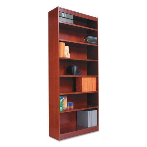 "Square Corner Wood Bookcase, Six-Shelf, 35.63""w x 11.81""d x 71.73""h, Medium Cherry. Picture 1"