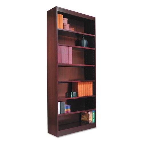 """Square Corner Wood Veneer Bookcase, Six-Shelf, 35.63""""w x 11.81""""d x 71.73""""h, Mahogany. Picture 3"""