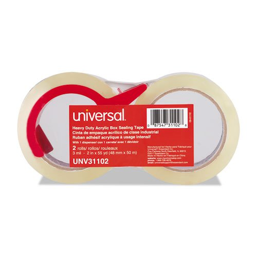 """Heavy-Duty Acrylic Box Sealing Tape with Dispenser, 3"""" Core, 1.88"""" x 54.6 yds, Clear, 2/Pack. Picture 2"""