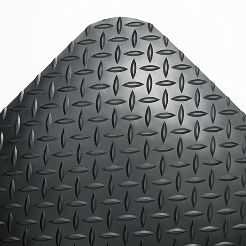 Industrial Deck Plate Anti-Fatigue Mat, Vinyl, 36 x 144, Black. The main picture.