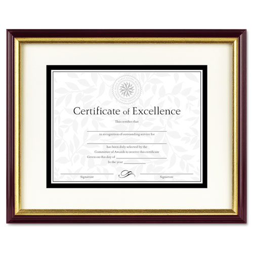 Document/Certificate Frame w/Mat, Plastic, 11 x 14, 8 1/2 x 11, Mahogany/Gold. Picture 1