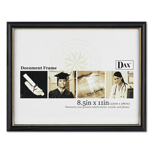 Two-Tone Document/Diploma Frame, Wood, 8 1/2 x 11, Black w/Gold Leaf Trim. Picture 2