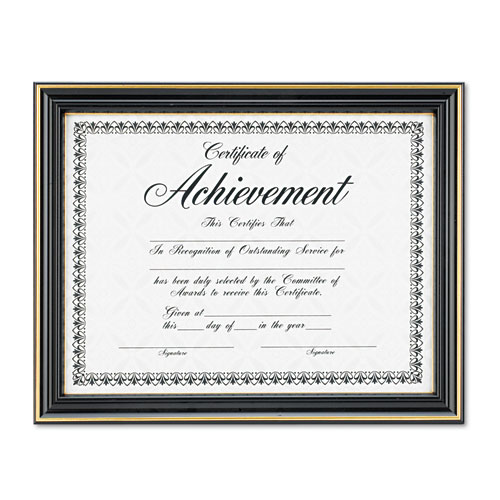 Gold-Trimmed Document Frame with Certificate, Plastic/Glass, 8.5 x 11, Black. Picture 2