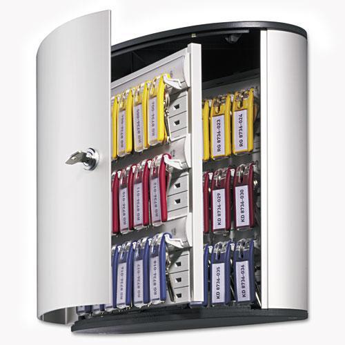 Locking Key Cabinet, 36-Key, Brushed Aluminum, Silver, 11 3/4 x 4 5/8 x 11. Picture 5