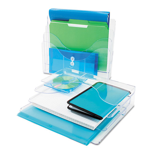 Three tier document organizer plastic 13 3 8 x 3 1 2 x 11 1 2 clear